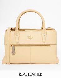 Ri2k Leather Structured Bag With Optional Shoulder Strap Tan