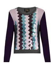 Giambattista Valli Sequin Embellished Round Neck Cashmere Sweater Purple Multi