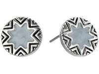 House Of Harlow Enameled Engraved Mini Sunburst Stud Earrings Silver Earring