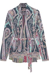 Etro Belted Paisley Print Silk Blouse Purple