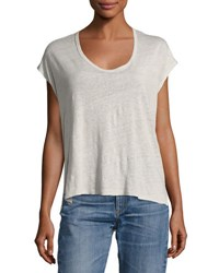 Rag And Bone Rugby Relaxed Linen Scoop Neck Tee Gray
