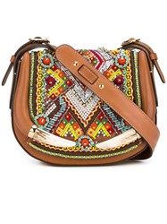 Roberto Cavalli Beaded Saddle Bag Brown