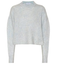 Ryan Roche Cashmere And Silk Cropped Sweater Blue