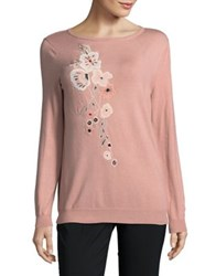 Ivanka Trump Embroidered Floral Sweater Ballet