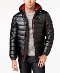 Cole Haan Men's Faux Leather Puffer Coat Black Red