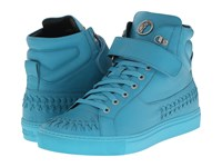 Versace Woven Leather Hi Top Sneaker Turquoise Men's Lace Up Casual Shoes Blue