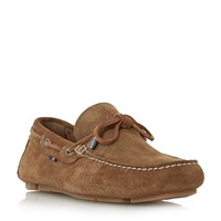 Tommy Hilfiger Monte 3B Suede Lace Up Driver Loafers Camel