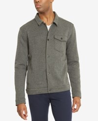 Kenneth Cole Reaction Men's Snap Front Knit Shirt Jacket Charcoal H