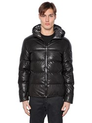 Ea7 Emporio Armani Quilted Leather Effect Nylon Down Jacket