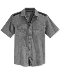 Sean John Men's Solid Twill Short Sleeve Shirt Black Chambray