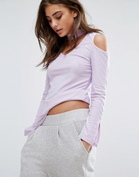 Daisy Street Cold Shoulder Top With Keyhole Front Mauve Purple