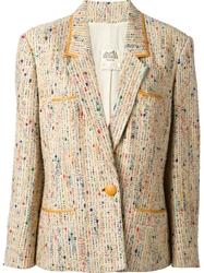 Hermes Vintage Tweed Blazer Nude And Neutrals