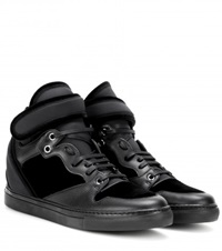 Balenciaga Leather And Velvet High Top Sneakers Black