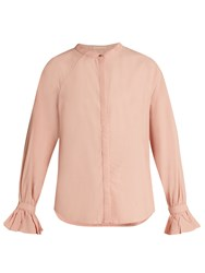Bliss And Mischief Ruffled Cuff Poplin Blouse Pink