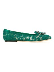 Dolce And Gabbana Embellished Lace Ballerinas Green