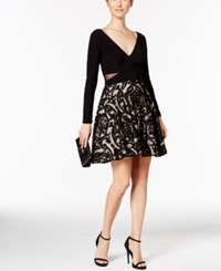 Xscape Evenings Illusion Cutout Fit And Flare Dress Black Stone