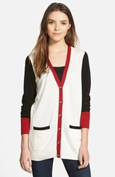 Women's Caslon 'Collegiate' V Neck Cardigan Ivory Black Red Colorblock
