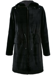 Liska Hooded Coat Men Mink Fur Viscose 52 Black