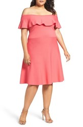 Eliza J Plus Size Women's Off The Shoulder Dress Coral