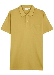 Sunspel Riviera Cotton Mesh Polo Shirt Yellow