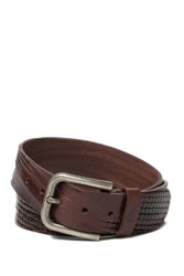 Tommy Bahama Basketweave Embossed Italian Leather Belt Dark Brown