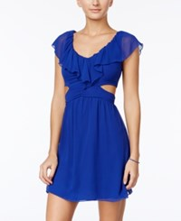 Speechless Juniors' Ruffled Cutout A Line Dress Blue
