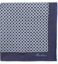 Corneliani Linen Pocket Square Navy
