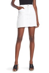 7 For All Mankind Frayed Hem A Lined Mini Skirt White Twill