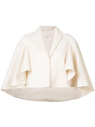 Delpozo Cropped Cape Jacket White
