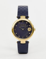 Versus By Versace Buffle Bay Sp8703 0018 Leather Watch In Navy