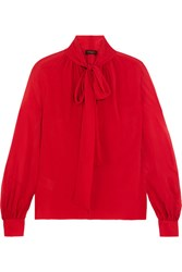 Giambattista Valli Pussy Bow Silk Georgette Blouse Red