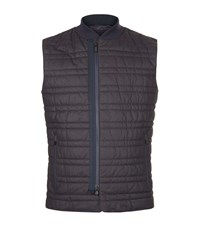 Z Zegna Quilted Leather Gilet Male Navy