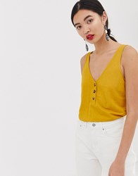 Warehouse V Neck Vest With Buttons In Mustard Yellow