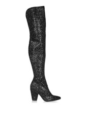 Topshop Banging Sequin Over The Knee Boots Black