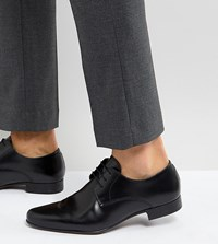 Asos Wide Fit Derby Shoes In Black Leather Black