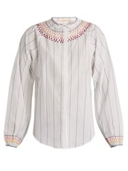 Bliss And Mischief Smocked Pinstriped Cotton Blouse White Multi