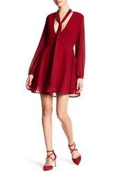 Glamorous Tie Neck Fit And Flare Dress Red