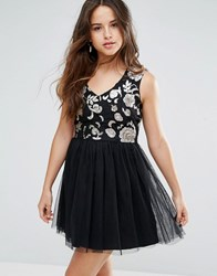 Louche Maykaylee Dress With Tulle Skirt Black Gold