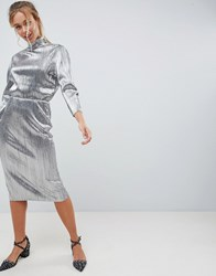 First And I Silver Plisse High Neck Dress Silver
