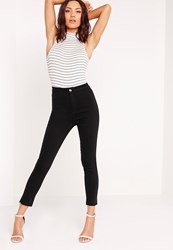 Missguided Cropped Skinny Jeans Black Black