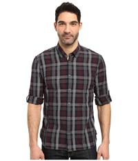 John Varvatos Slim Fit Button Down Collar Sport Shirt W Roll Up Sleeve And Single Chest Pocket W387s3b Black Men's Clothing