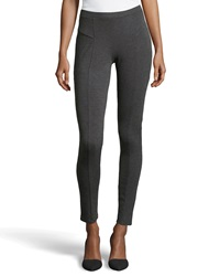Neiman Marcus Center Seamed Ponte Leggings Heather Gray