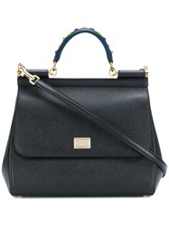 Dolce And Gabbana 'Sicily' Medium Tote Women Calf Leather Metal Glass One Size Black