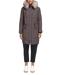 Whistles Cassie Fur Trim Parka Gray