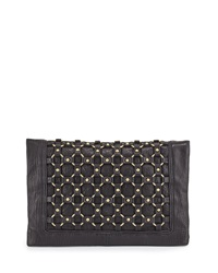 Ash Lulu Ring Detail Clutch Bag Black