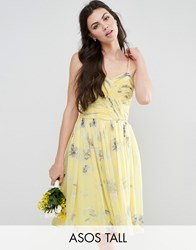 Asos Tall Wedding Rouched Midi Dress In Sunshine Floral Print Yellow Print