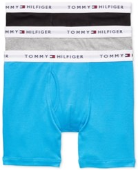 Tommy Hilfiger Men's Cotton Boxer Brief 3 Pack 09Te001 Teal