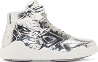 Marcelo Burlon Silver Leather High Top Sneakers