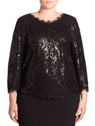Basler Plus Size Sequin Lace Blouse Black