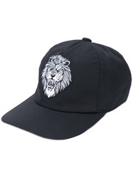 Billionaire Embroidered Lion Baseball Cap Cotton Calf Leather Polyester Black